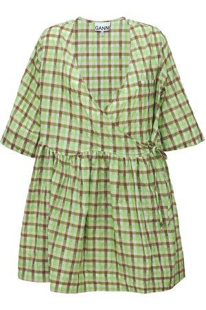 Ganni Women Party Dresses - Seersucker Check Wrap Mini Dress