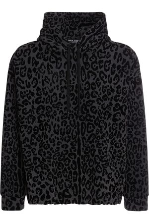 Dolce & Gabbana All Over Leo Print Cotton Jersey Hoodie