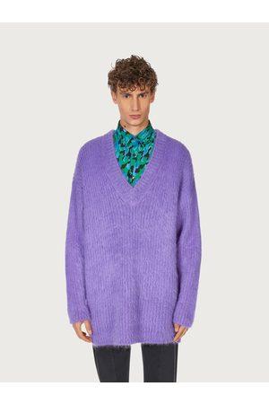 Salvatore Ferragamo Men Sweatshirts - Men Oversize V-neck sweater Violet