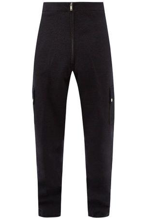 Jil Sander Men Cargo Pants - Tapered Brushed Wool-blend Cargo Track Pants - Mens - Dark