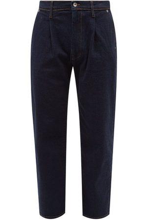 Albam Men Straight - Pleated Straight-leg Cropped Jeans - Mens - Dark