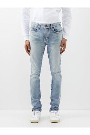 Saint Laurent Men Slim - Distressed Slim-leg Jeans - Mens
