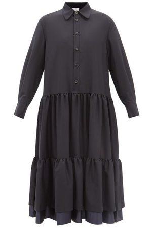 NOIR KEI NINOMIYA Tiered Wool Shirt Dress - Womens - Navy