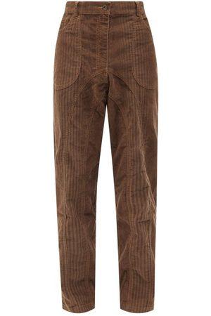 Ahluwalia Men Straight Leg Pants - Striped Upcycled-corduroy Straight-leg Trousers - Mens