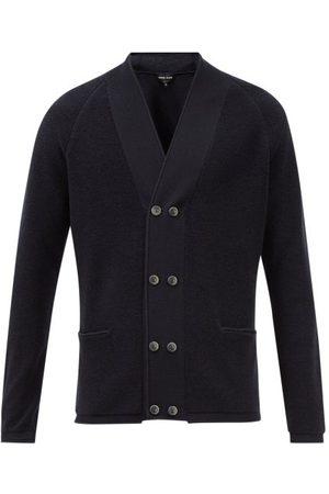 Armani Men Cardigans - Double-breasted Wool Cardigan - Mens - Dark Navy