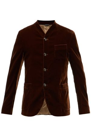 Armani Men Blazers - Single-breasted Stand-collar Velvet Blazer - Mens