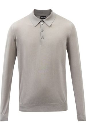 Armani Long-sleeve Wool Polo Shirt - Mens - Grey