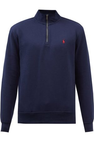 Polo Ralph Lauren Logo-embroidered Zipped Cotton-blend Sweatshirt - Mens - Navy