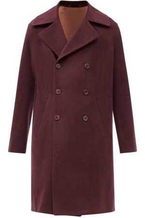 Paul Smith Men Blazers - Notch-lapel Brushed-wool Coat - Mens - Burgundy