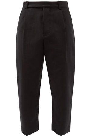 STUDIO NICHOLSON Men Wide Leg Pants - Cropped Cotton-blend Trousers - Mens