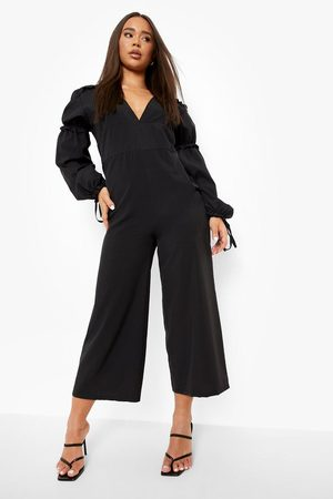 Boohoo Womens Frill Detail Plunge Culotte Jumpsuit - - 4