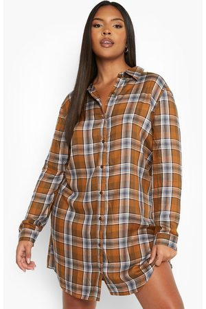 Boohoo Womens Plus Oversized Flannel Shirt Dress - - 12