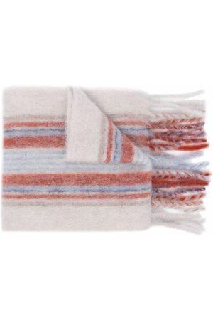 Acne Studios Scarves - Check print fringed scarf - Grey