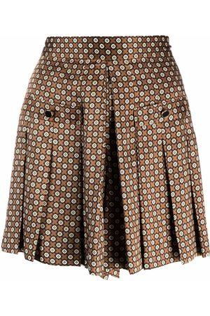 Sandro Geometric-print pleated mini skirt