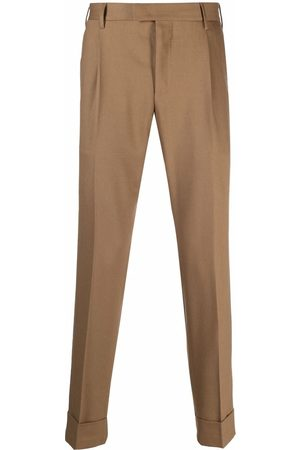 PT01 Pleat-detail turn-up hem tailored trousers - Neutrals