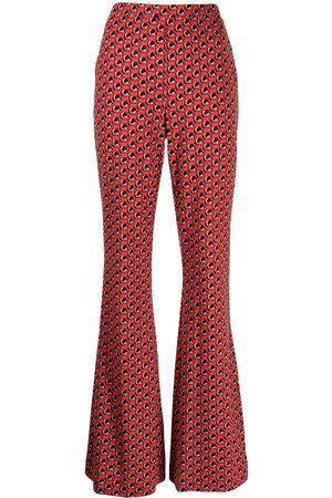 Diane von Furstenberg Women Wide Leg Pants - Abstract-foulard flared trousers