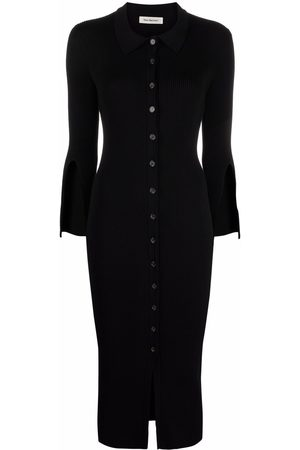 There Was One Women Casual Dresses - Ribbed-knit polo-collar shirt dress