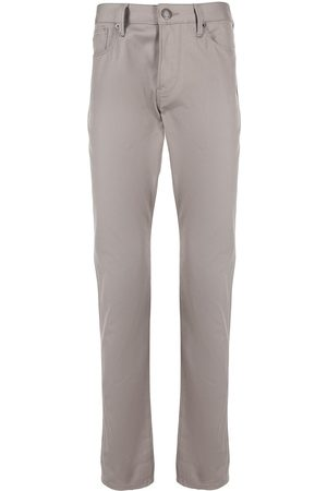 Emporio Armani Men Straight Leg Pants - Logo-patch straight leg trousers