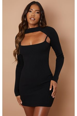 PRETTYLITTLETHING Women Bodycon Dresses - Knitted Bodycon Dress With Sleeves