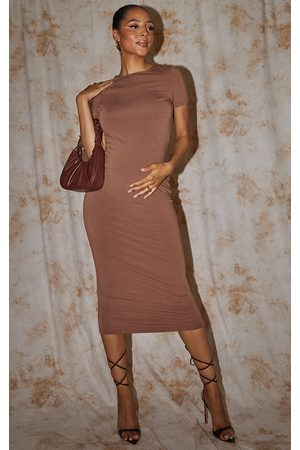 PRETTYLITTLETHING Women Casual Dresses - Recycled Maternity Chocolate Contour Jersey Short Sleeve Midi Dress
