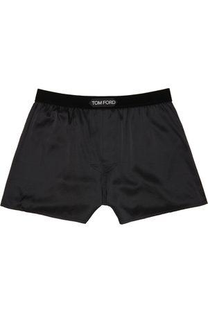 Tom Ford Men Boxer Shorts - Black Silk Boxers