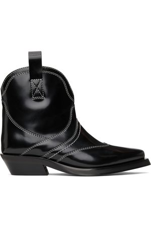Ganni Women Ankle Boots - Black Polished Western Ankle Boots