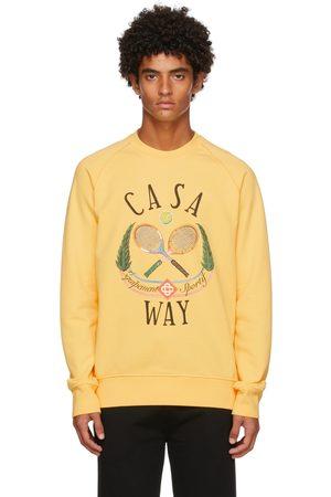 Casablanca Men Sweatshirts - Yellow Casa Way Tennis Club Sweatshirt