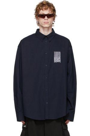 Balenciaga Men Shirts - Navy Poplin Barcode Large Fit Shirt