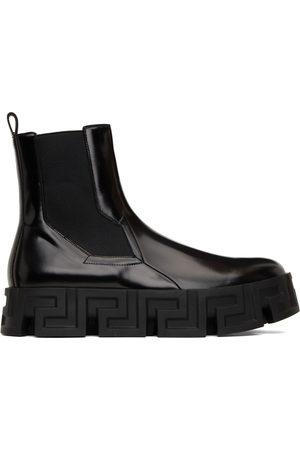 VERSACE Men Chelsea Boots - Black Greca Labyrinth Chelsea Boots