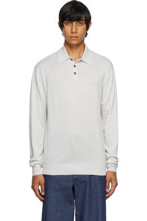 King & Tuckfield Men Polo Shirts - Grey Rib Knit Long Sleeve Polo