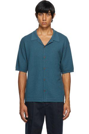 King & Tuckfield Men Short sleeves - Navy Knit Textured Short Sleeve Shirt