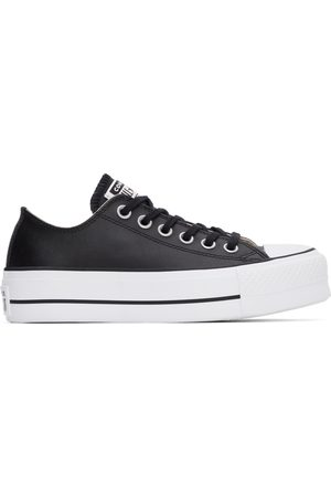 Converse Women Sneakers - Black Leather Chuck Taylor All Start Lift Low Sneakers
