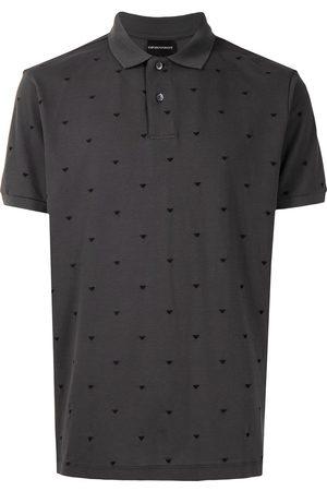 Emporio Armani Men Polo Shirts - Eagle-embroidered polo shirt - Grey