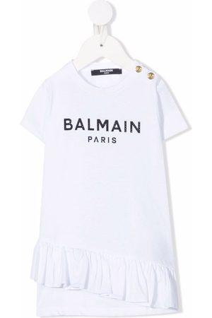 Balmain Logo-print ruffle-detail dress