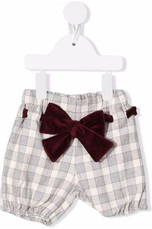 LA STUPENDERIA Checked bow-detail shorts