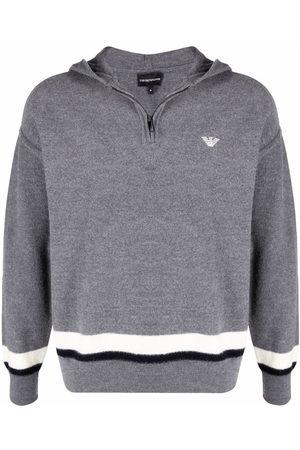 Emporio Armani Virgin wool stripe-hem hoodie - Grey