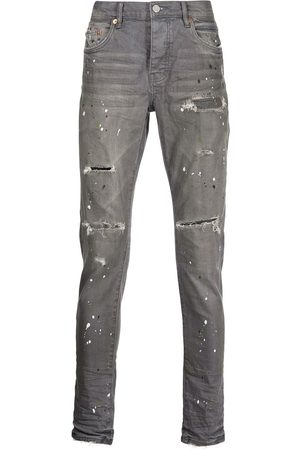 Purple Brand Paint splatter-print distressed jeans - Grey