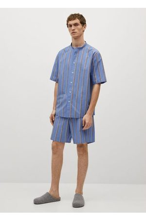 MANGO Striped cotton pajama pants