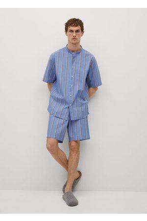 MANGO Striped cotton pajama shirt