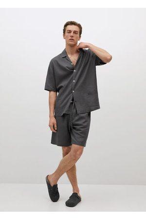 MANGO Men Pajamas - Linen pajama shirt