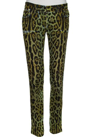 Dolce & Gabbana Animal Print Denim Tapered Leg Jeans S