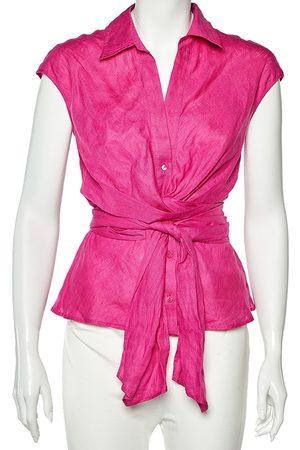 Max Mara Linen Wrap Detail Sleeveless Shirt S