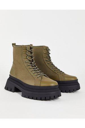 ASOS Lace-up boots in khaki canvas on chunky sole