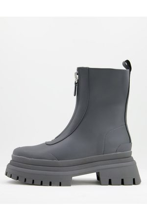 ASOS Zip front boots on triple stacked chunky sole in faux leather-Grey