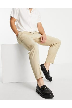 Topman Smart tapered pants with turn up in ecru