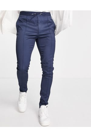 ASOS Men Chinos - Smart skinny pant with drawcord waist in navy texture