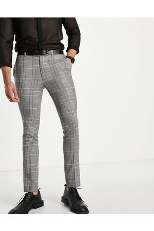 Bolongaro Check super skinny fit cropped suit pant-Grey