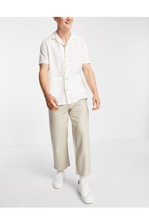 Topman Wide leg crop twill pants in ecru
