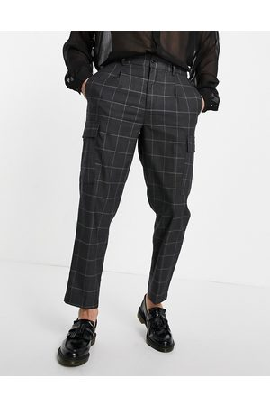 Devils Advocate Oversized checked cargo pant-Grey