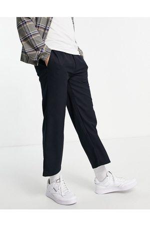 Topman Wide leg crop twill pants in navy